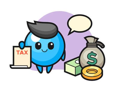 Gum ball cartoon as a accountant, cute style mascot character for t shirt, sticker design, logo element  イラスト・ベクター素材