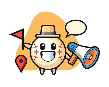 Baseball cartoon as a tour guide, cute style mascot character for t shirt, sticker design, logo element