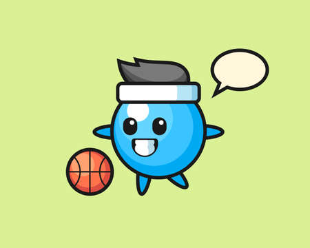 Gum ball cartoon is playing basketball, cute style mascot character for t shirt, sticker design, logo element  イラスト・ベクター素材