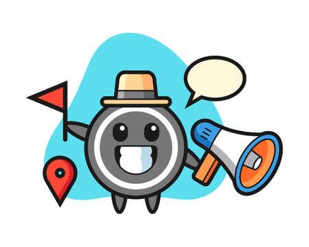 Hockey puck cartoon as a tour guide, cute style mascot character for t shirt, sticker design, logo element