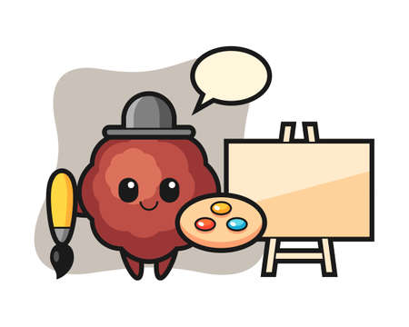Meatball cartoon as a painter, cute style mascot character for t shirt, sticker design, logo element Иллюстрация
