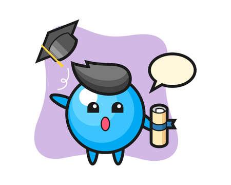 Gum ball cartoon throwing the hat at graduation, cute style mascot character for t shirt, sticker design, logo element