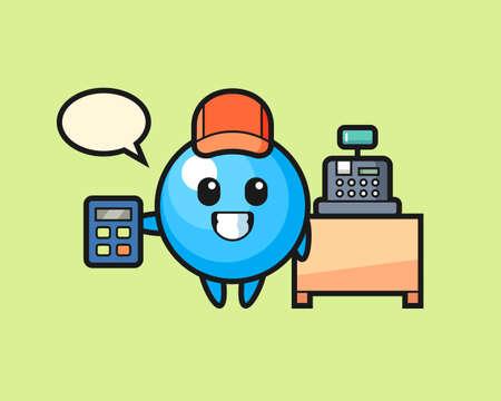 Gum ball cartoon as a cashier, cute style mascot character for t shirt, sticker design, logo element