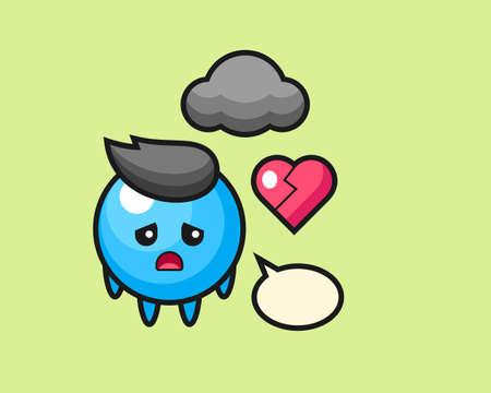 Gum ball cartoon is broken heart, cute style mascot character for t shirt, sticker design, logo element