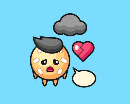 Sesame ball cartoon is broken heart, cute style mascot character for t shirt, sticker design, logo element