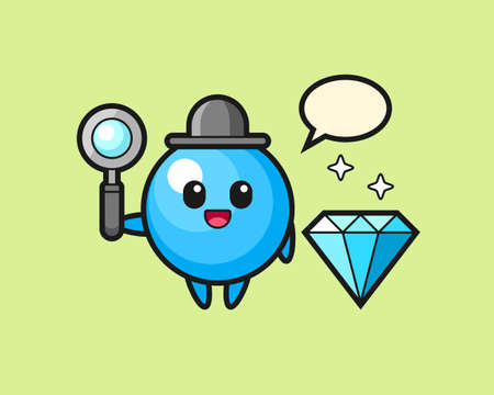 Gum ball cartoon with a diamond, cute style mascot character for t shirt, sticker design, logo element  イラスト・ベクター素材