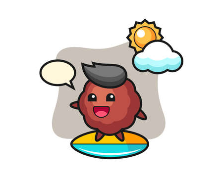 Meatball cartoon do surfing on the beach, cute style mascot character for t shirt, sticker design, logo element Vettoriali
