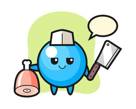 Gum ball cartoon as a butcher, cute style mascot character for t shirt, sticker design, logo element  イラスト・ベクター素材