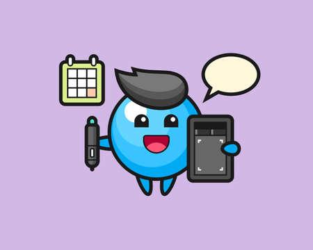Gum ball cartoon as a graphic designer, cute style mascot character for t shirt, sticker design, logo element