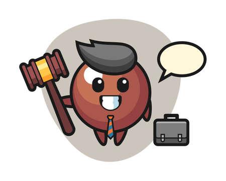 Chocolate ball cartoon as a lawyer, cute style mascot character for t shirt, sticker design, logo element Ilustração