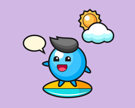Gum ball cartoon do surfing on the beach, cute style mascot character for t shirt, sticker design, logo element