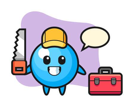 Gum ball cartoon as a woodworker, cute style mascot character for t shirt, sticker design, logo element