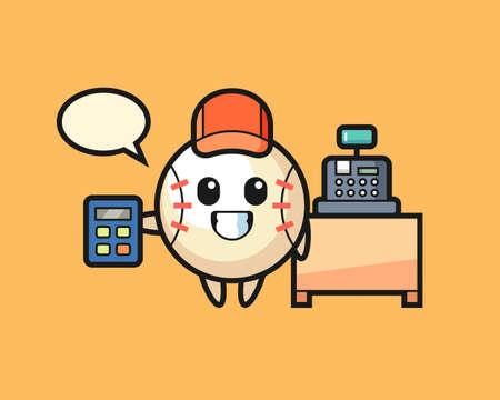 Baseball cartoon as a cashier, cute style mascot character for t shirt, sticker design, logo element