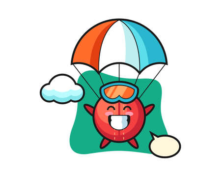 Cricket ball cartoon is skydiving with happy gesture, cute style mascot character for t shirt, sticker design, logo element