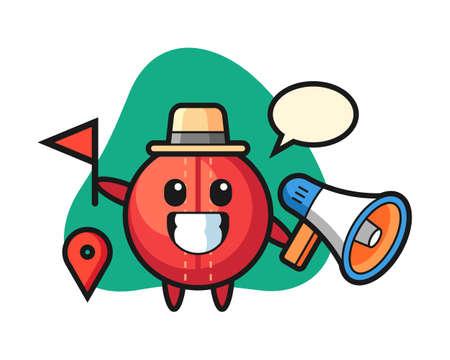 Cricket ball cartoon as a tour guide, cute style mascot character for t shirt, sticker design, logo element
