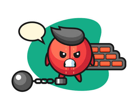 Cricket ball cartoon as a prisoner, cute style mascot character for t shirt, sticker design, logo element
