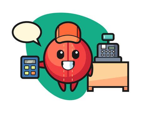 Cricket ball cartoon as a cashier, cute style mascot character for t shirt, sticker design, logo element