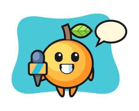 Orange fruit cartoon as a news reporter, cute style mascot character for t shirt, sticker design, logo element