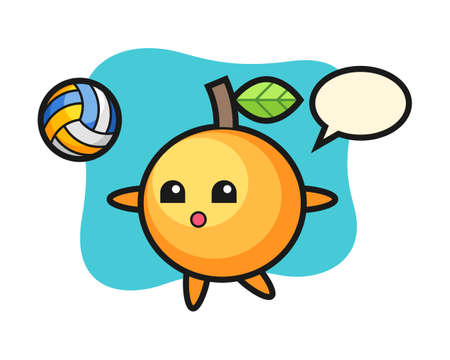 Orange fruit cartoon is playing volleyball, cute style mascot character for t shirt, sticker design, logo element Illustration