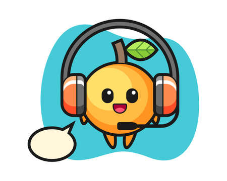 Orange fruit cartoon as a customer service, cute style mascot character for t shirt, sticker design, logo element