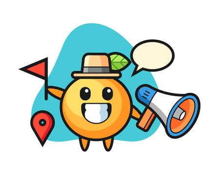 Orange fruit cartoon as a tour guide, cute style mascot character for t shirt, sticker design, logo element