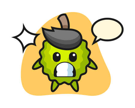 Durian cartoon with shocked gesture, cute style mascot character for t shirt, sticker design, logo element