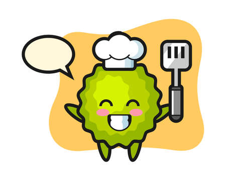 Durian chef cartoon is cooking, cute style mascot character for t shirt, sticker design, logo element Ilustração