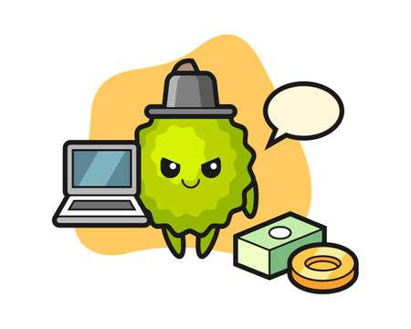 Durian cartoon as a hacker, cute style mascot character for t shirt, sticker design, logo element