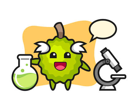Durian cartoon as a scientist, cute style mascot character for t shirt, sticker design, logo element