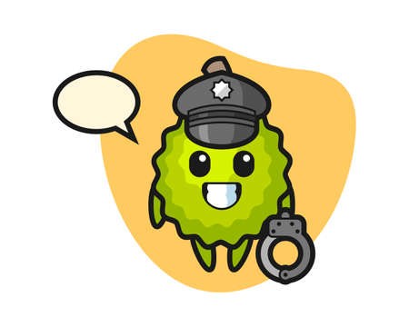 Durian cartoon as a police, cute style mascot character for t shirt, sticker design, logo element Ilustração