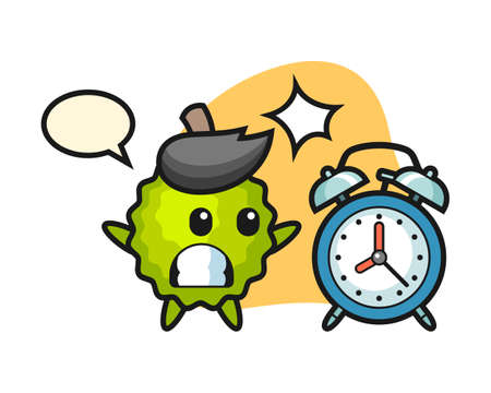Durian cartoon surprised with a giant alarm clock, cute style mascot character for t shirt, sticker design, logo element