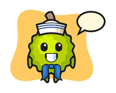 Durian cartoon as a sailor man, cute style mascot character for t shirt, sticker design, logo element