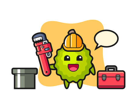 Durian cartoon as a plumber, cute style mascot character for t shirt, sticker design, logo element