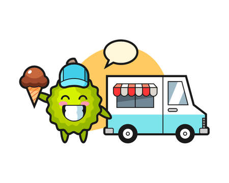 Durian cartoon with ice cream truck, cute style mascot character for t shirt, sticker design, logo element