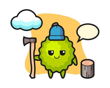 Durian cartoon as a woodcutter, cute style mascot character for t shirt, sticker design, logo element