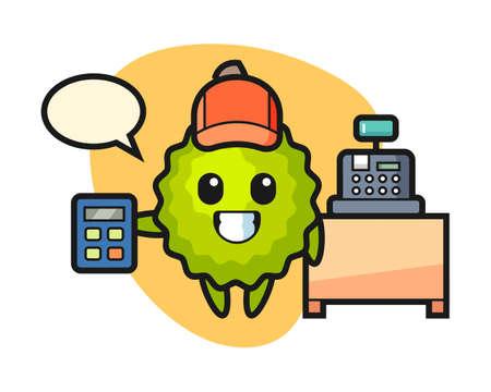 Durian cartoon as a cashier, cute style mascot character for t shirt, sticker design, logo element