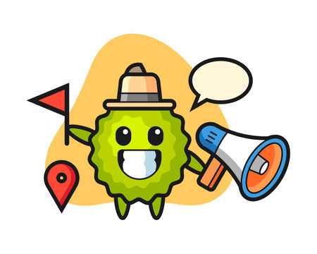 Durian cartoon as a tour guide, cute style mascot character for t shirt, sticker design, logo element