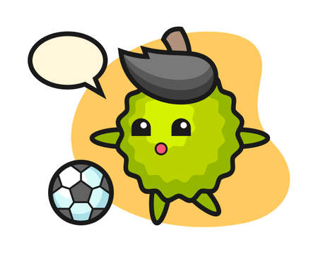 Durian cartoon is playing soccer, cute style mascot character for t shirt, sticker design, logo element
