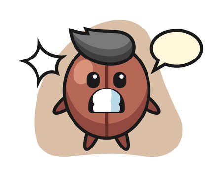 Coffee bean cartoon with shocked gesture, cute style mascot character for t shirt, sticker design, logo element Ilustrace