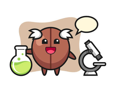 Coffee bean cartoon as a scientist, cute style mascot character for t shirt, sticker design, logo element
