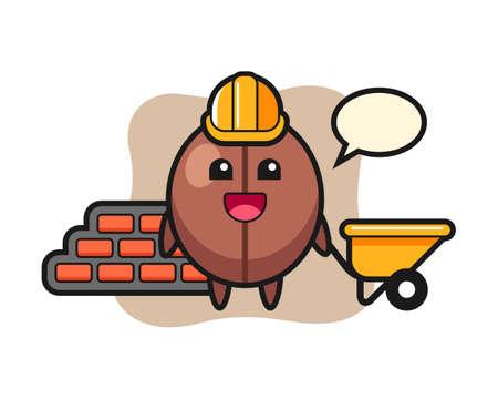 Coffee bean cartoon as a builder, cute style mascot character for t shirt, sticker design, logo element