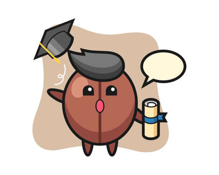 Coffee bean cartoon throwing the hat at graduation, cute style mascot character for t shirt, sticker design, logo element