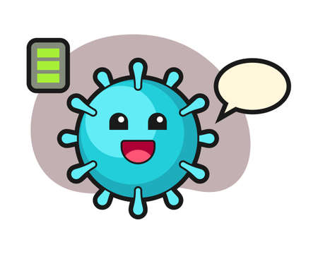 Virus cartoon with energetic gesture, cute style mascot character for t shirt, sticker design, logo element