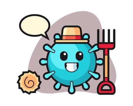 Virus cartoon as a farmer, cute style mascot character for t shirt, sticker design, logo element