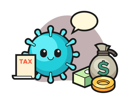 Virus cartoon as a accountant, cute style mascot character for t shirt, sticker design, logo element Иллюстрация