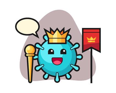 Virus cartoon as a king, cute style mascot character for t shirt, sticker design, logo element Archivio Fotografico - 151312472
