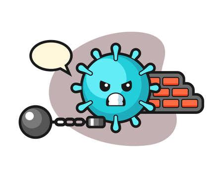 Virus cartoon as a prisoner, cute style mascot character for t shirt, sticker design, logo element Logo