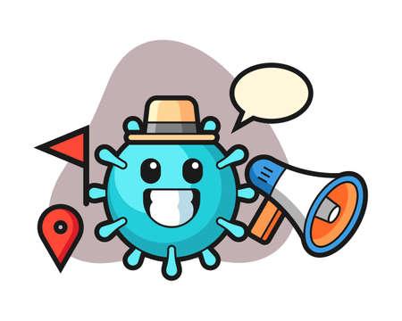 Virus cartoon as a tour guide, cute style mascot character for t shirt, sticker design, logo element