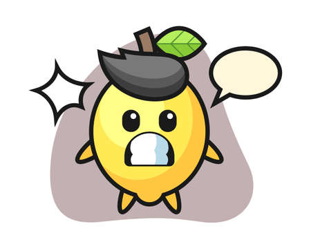 Lemon character cartoon with shocked gesture, cute style design for t shirt, sticker, logo element Ilustrace