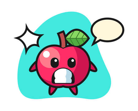 Apple character cartoon with shocked gesture, cute style design for t shirt, sticker, logo element Ilustrace